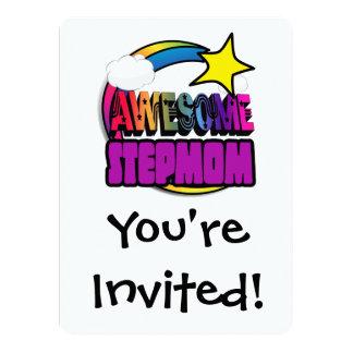 Shooting Star Rainbow Awesome Stepmom 5.5x7.5 Paper Invitation Card