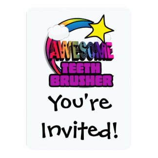 Shooting Star Rainbow Awesome Teeth Brusher 5.5x7.5 Paper Invitation Card