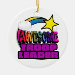 Shooting Star Rainbow Awesome Troop Leader Double-Sided Ceramic Round Christmas Ornament