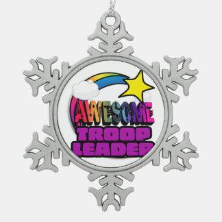 Shooting Star Rainbow Awesome Troop Leader Snowflake Pewter Christmas Ornament