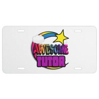 Shooting Star Rainbow Awesome Tutor License Plate