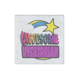 Shooting Star Rainbow Awesome Vegetarian Stone Magnet