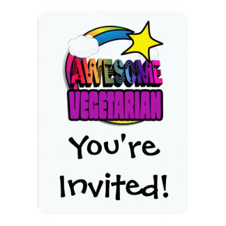 Shooting Star Rainbow Awesome Vegetarian Personalized Invitations