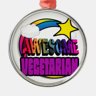Shooting Star Rainbow Awesome Vegetarian Round Metal Christmas Ornament