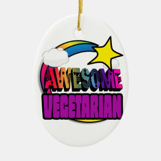 Shooting Star Rainbow Awesome Vegetarian Double-Sided Oval Ceramic Christmas Ornament
