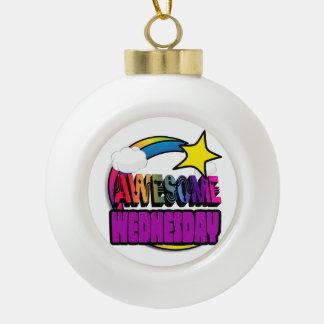 Shooting Star Rainbow Awesome Wednesday Ceramic Ball Christmas Ornament