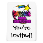 Shooting Star Rainbow Awesome Yoga Instructor Personalized Invitations