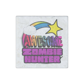 Shooting Star Rainbow Awesome Zombie Hunter Stone Magnet
