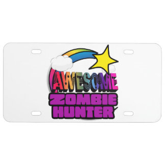 Shooting Star Rainbow Awesome Zombie Hunter License Plate