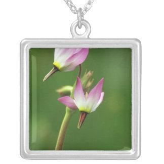 Shooting star wildflower, California, USA Square Pendant Necklace
