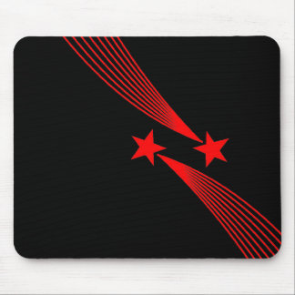 Shooting Stars - Red on Black Mouse Pad