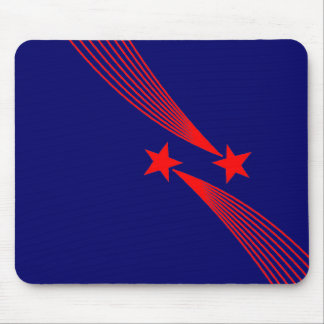 Shooting Stars - Red on Dark Blue 000066 Mouse Pad