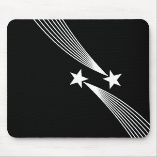 Shooting Stars - White on Black Mouse Pad