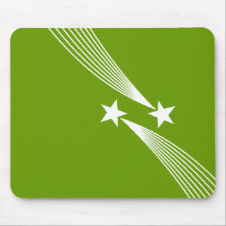 Shooting Stars - White on Green 669900 Mouse Pad