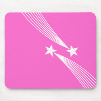 Shooting Stars - White on Pink FF66CC Mouse Pad