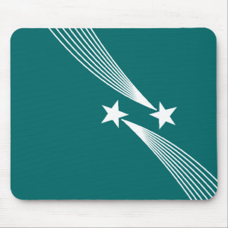 Shooting Stars - White on Teal Green 006666 Mouse Pad