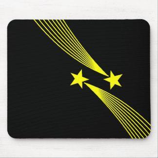 Shooting Stars - Yellow on Black Mouse Pad