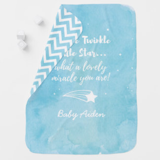 Shooting Twinkle Little Star Blue Baby Blanket