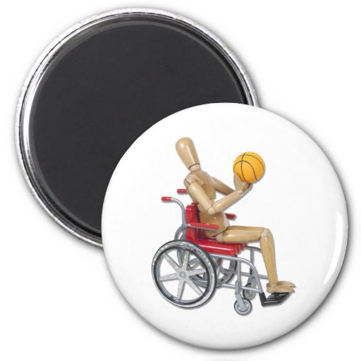 ShootingBasketballWheelchair 2 Inch Round Magnet