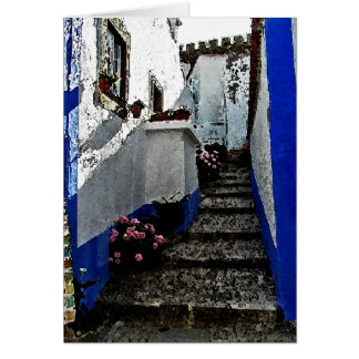 Shop and Steps in Obidos Portugal Greeting Cards