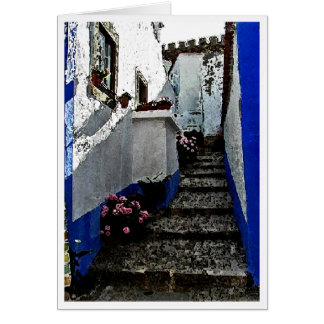 Shop and Steps in Obidos Portugal Greeting Card
