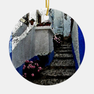 Shop and Steps in Obidos Portugal Double-Sided Ceramic Round Christmas Ornament