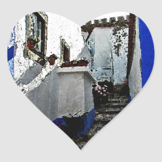 Shop and Steps in Obidos Portugal Heart Sticker