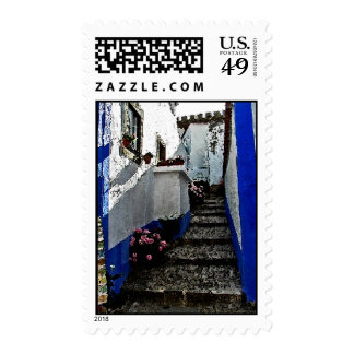 Shop and Steps in Obidos Portugal Stamps