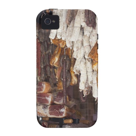 shop displaying an assortment of sausages and Case-Mate iPhone 4 case
