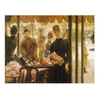 Shop Girl by Tissot, Vintage Victorian Fine Art Postcard