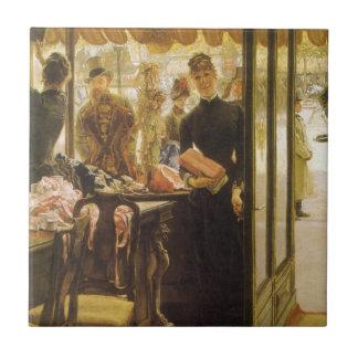 Shop Girl by Tissot Vintage Victorian Portrait Art Small Square Tile
