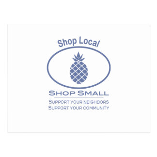Shop Local, Shop Small blue pineapple Postcard