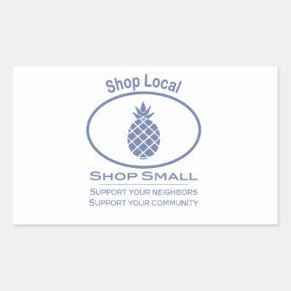 Shop Local, Shop Small blue pineapple Rectangular Sticker