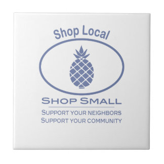 Shop Local, Shop Small blue pineapple Tile
