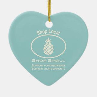 Shop Local, Shop Small cream pineapple Ceramic Ornament