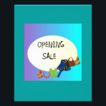 """Shop Opening Sale&gt; Flyer<br><div class=""""desc"""">A very colourful flyer advertising an opening sale for a womens shop,  background colour of teal .  Sign on top has  an aqua mauve background. BlackText sits on White&gt; reads&quot; Opening sale  &quot; On  Back&gt; 15%off items,  room for name of Shop and Times.  pictures of clothing bags and shoes.</div>"""