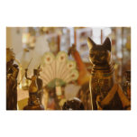 Shop Window with Cat Sculpture Poster