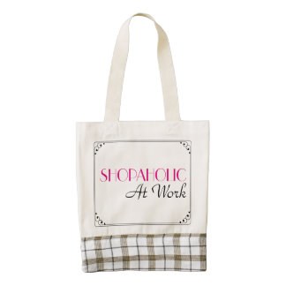 Shopaholic At Work Sign Zazzle HEART Tote Bag