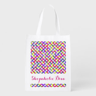 Shopaholic Diva bright patterned colorful bag Reusable Grocery Bags