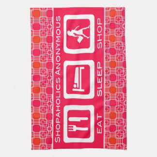 Shopaholic divertido rosado come el premio de la toalla de mano