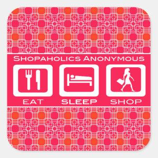 Shopaholic divertido rosado come el premio de la pegatina cuadrada