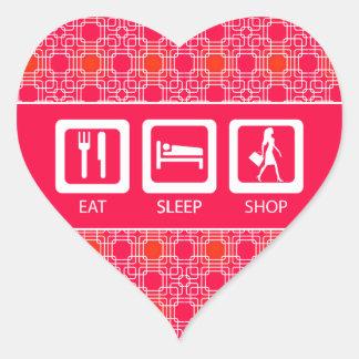 Shopaholic divertido rosado come el premio de la pegatina en forma de corazón