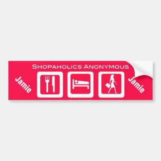 Shopaholic divertido rosado come el premio de la pegatina para auto