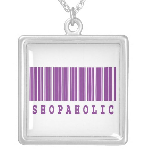 shopaholic  funny barcode design pendants