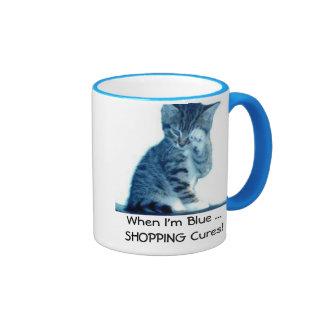 Shopaholic Kitty Lovers Blue Coffee Mug