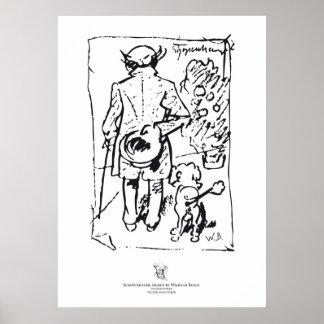Shopenhauer with dog, by Wilhelm Busch Poster