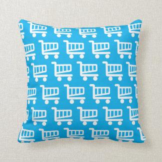 shopper blue and white throw pillow
