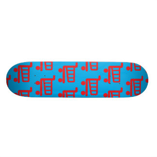 shopper red and blue skateboard deck