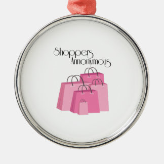 Shoppers Annonymous Round Metal Christmas Ornament