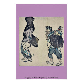 Shopping at the marketplace by Suzuki,Nanrei Poster